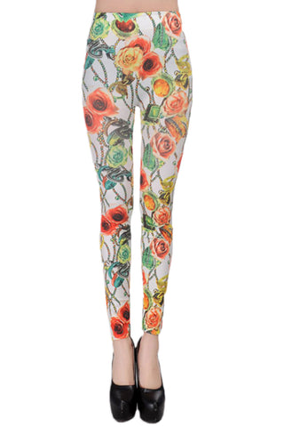 Atomic Light Rose and Jewelry Print Leggings