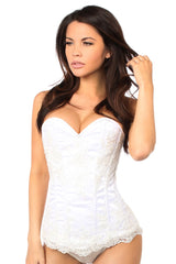 Elegant White Embroidered Steel Boned Corset