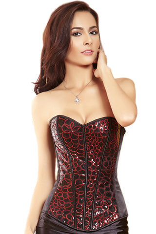 Red and Black Hoops Overbust Corset