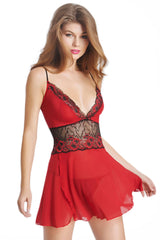 Red Lace Mesh Embroidery Babydoll