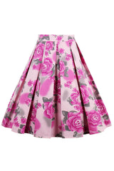 Atomic Pink Rose Rockabilly Skirt