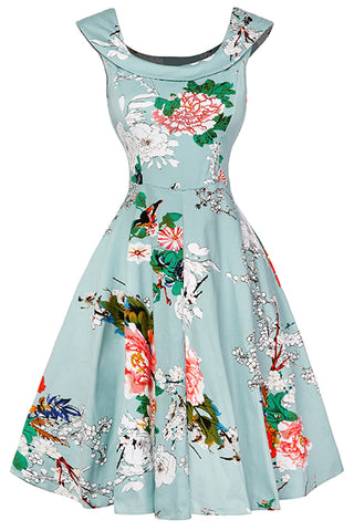 Green Vintage Floral Cocktail Dress