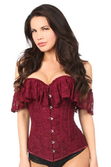 Wine Lace Off-The-Shoulder Corset