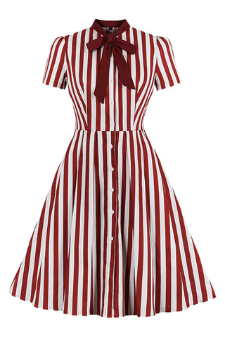 Red Pinup Butterfly Collar Dress