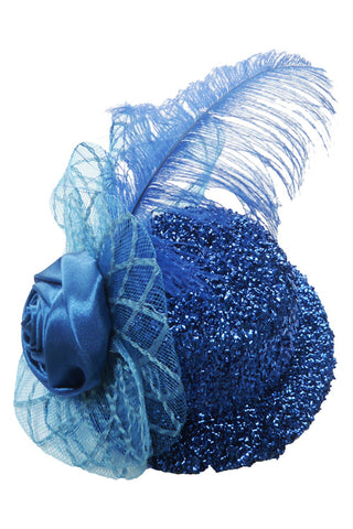 Blue Burlesque Glitter Mini Top Hat