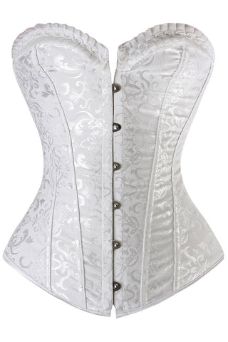 White Light Steel Boned Overbust Corset
