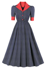 Vintage Suit Collar Dotted Long Dress