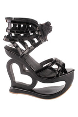 Black Spider Heart Wedge Sandals