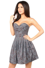 Top Drawer Premium Gunmetal Floral Steel Boned Empire Waist Dress