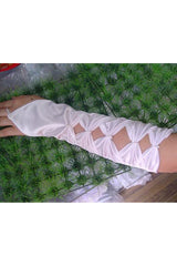 White Diamond Cut Handless Gloves