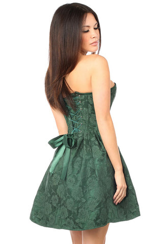 Top Drawer Premium Dark Green Floral Steel Boned Empire Waist Dress