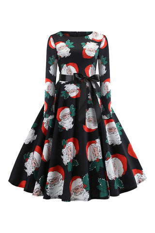 Black Mistletoe Santa Midi Dress
