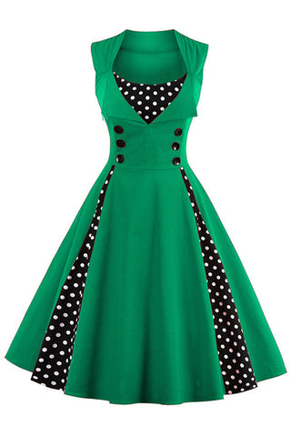 Green and Black Polka Dot Pleated Swing Dress