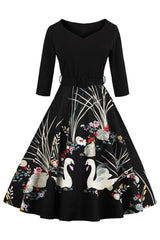 Black Retro Floral Swan Swing Dress