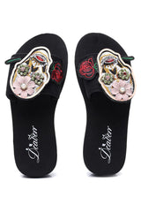 Floral Sugar Skull Wedge Sandals