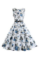 Atomic Blue & Gray Florals Dress with Belt