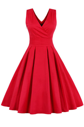 Vintage Red Pleated Cocktail Dress