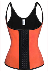 Atomic Orange Latex Steel Boned Vest Underbust Corset