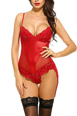 Red Floral Lace Bodysuit Teddy
