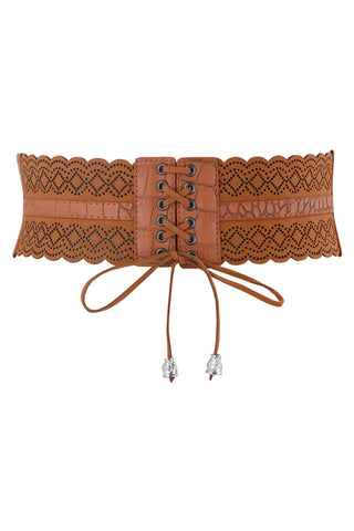 Brown Leather Hollow Corset Belt