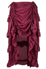 Wine Red Victorian Gothic Ruffle Skirt