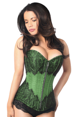 Emerald Green Corset w/ Black Eyelash Lace