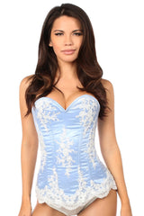 Elegant Light Blue Embroidered Steel Boned Corset