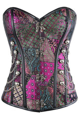 Purple Patchwork Steampunk Overbust Corset
