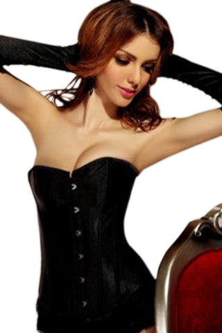Black Satin Overbust Long Bone Corset