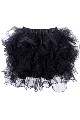 Black Ruffled Mesh Overlay Mini Skirt