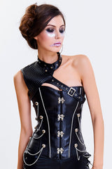 Black Steel Boned One-Shoulder Overbust Corset
