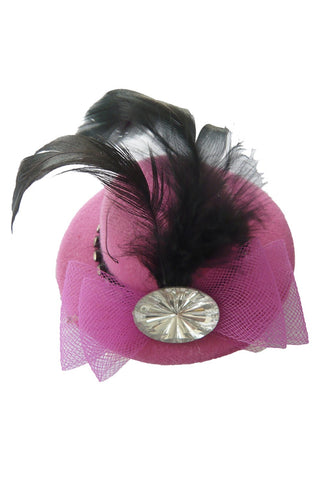 Deep Pink Jeweled Feather Mini Top Hat