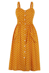 Polka Dot Buttoned Summer Slip Dress