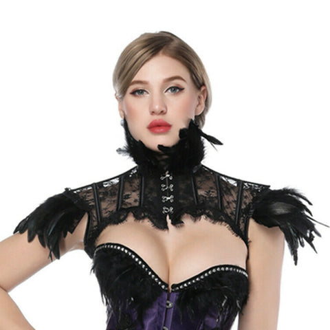 Victorian Feather High Neck Corset Shrug