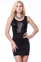 Black Sheer Liquid Panel Mini Dress