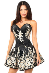 Black Floral Steel Boned Short Corset Dress