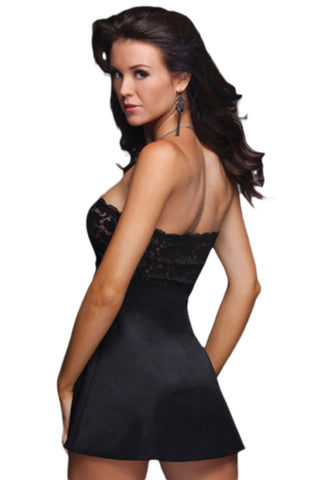 Black Strapless Lace Babydoll