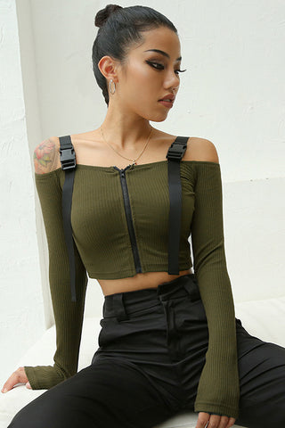Atomic Strapped and Ribbed Crop Top