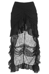 Black Elastic Lace and Mesh Skirt
