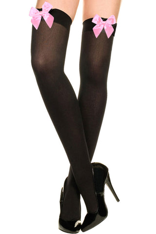 Atomic Opaque Black Thigh High Stockings with Pink Bow