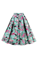 Vintage Flamingo Pleated Skirt