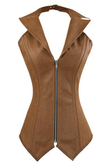 Brown Faux Leather Steel Boned Halter Corset
