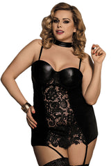Black Plus Size Choker Lace Babydoll Set
