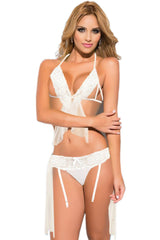 White Honeymoon Halter Lingerie Set