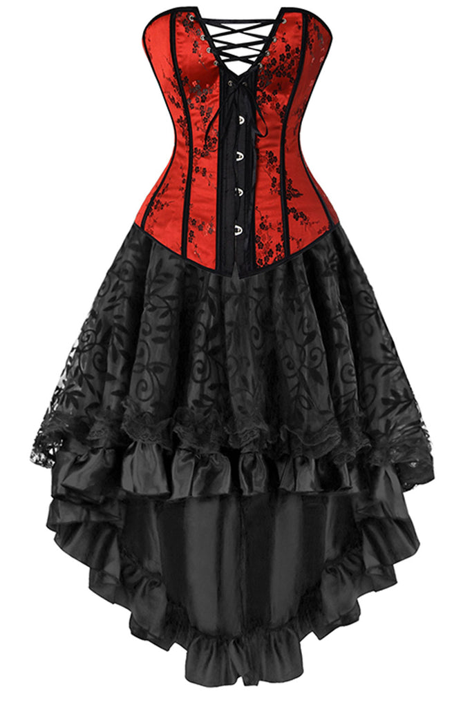 Atomic Red And Black Victorian Inspired Corset And Skirt Atomic