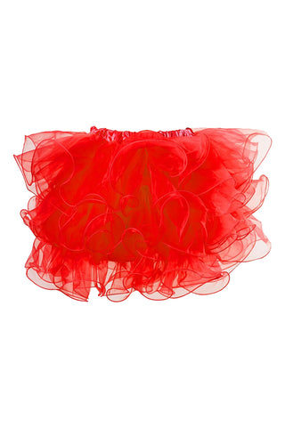 Red Ruffled Mesh Overlay Mini Skirt