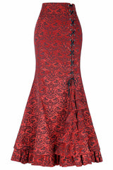 Red Jacquard Ruffled Fishtail Skirt