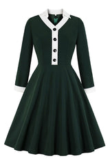 Vintage Green Long Sleeve Dress