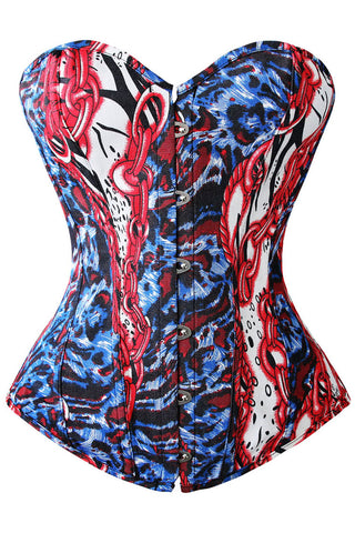 Chains of Blood Denim Overbust Corset