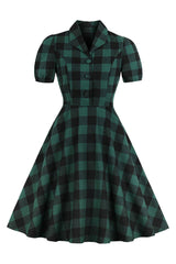 Retro Green Tartan Midi Dress